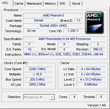 Amd Phenom X4 945 And 955be Processor Review Test Cpu Z Screenshots