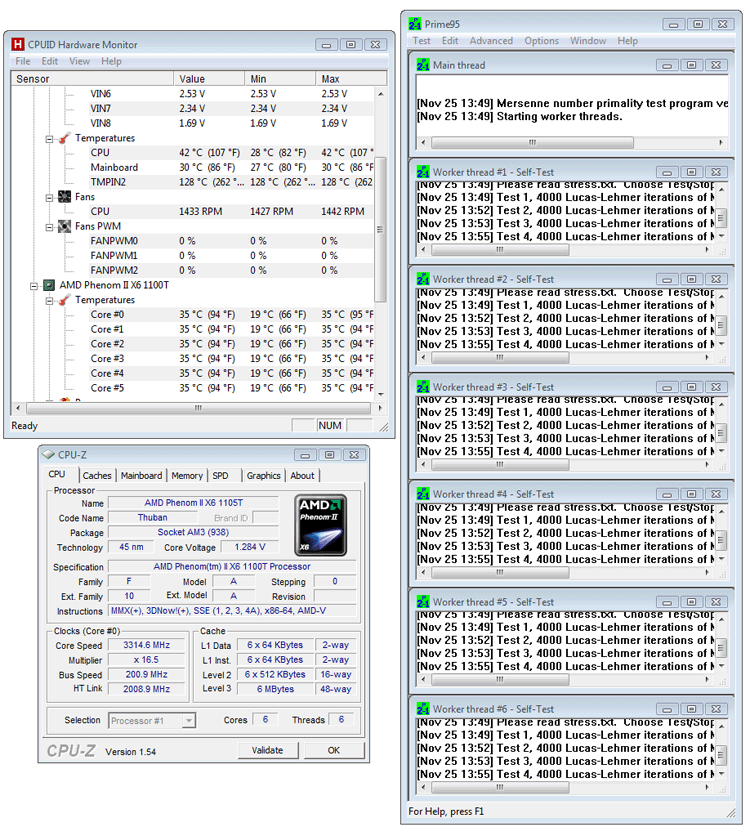 Phenom Ii X6 1100t Be Processor Review Power Consumption And Temperatures