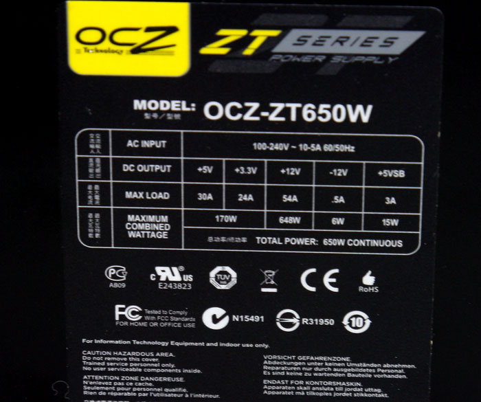 OCZ ZT 650W Power Supply