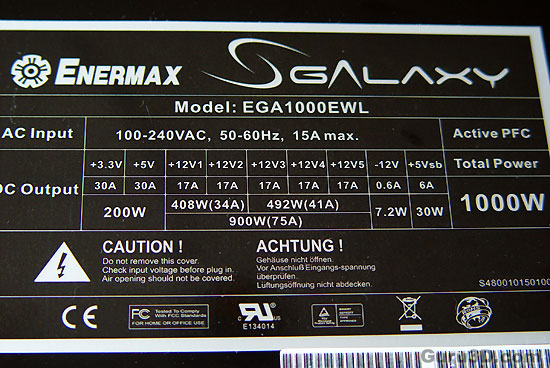 Enermax Galaxy 1000 Watt PSU review